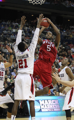 Mar 16, 2012; Columbus, OH, USA; North Carolina State Wolfpack forward C.J. Leslie (5) shoots against San Diego State Aztecs guard Jamaal Franklin (21)  during the second round in the 2012 NCAA men's basketball tournament at Nationwide Arena.  Mandatory C