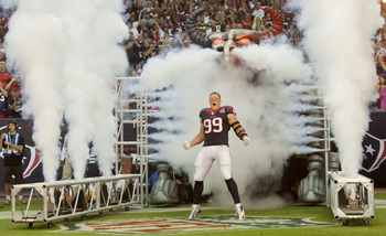 J.J. Watt exiting the tunnel against Green Bay on Sunday.