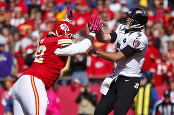 Flacco airing out a pass against Kansas City Oct. 7.