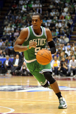 MILAN, ITALY - OCTOBER 07:  Rajon Rondo # 9 of Celtics in action during the NBA Europe Live game between EA7 Emporio Armani Milano v Boston Celtics at Mediolanum Forum  on October 7, 2012 in Milan, Italy.  (Photo by Roberto Serra/Iguana Press/Getty Images