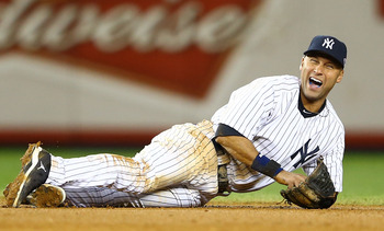 Jeter, after breaking his ankle fielding a grounder.