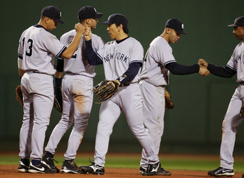 The Yankees were pumped after winning Game 3 in 2004.