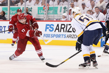 Vrbata fires a shot against Nashville during the second round of the 2012 NHL Playoffs.