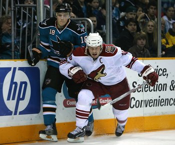 Doan displaying his physicality against the San Jose Sharks.