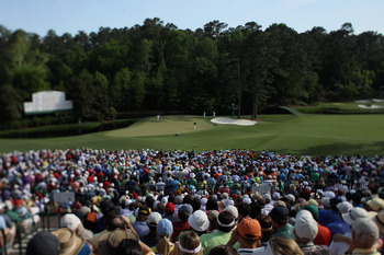 The green at the 11th hole at Augusta National Golf Club is one of the Masters toughest.