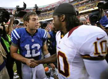 Andrew Luck and RGIII have tremendous respect for each other. (Nick Wass/AP)
