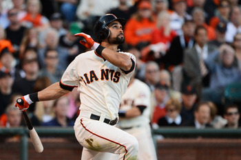 Angel Pagan homered off of Chris Carpenter in Game 2