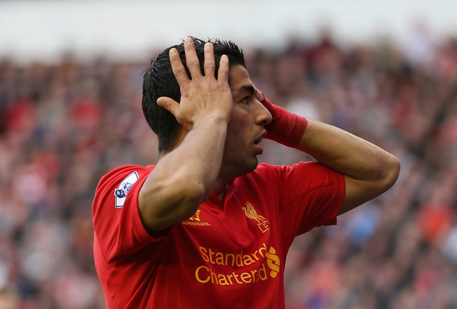 LIVERPOOL, ENGLAND - OCTOBER 07:  Luis Suarez of Liverpool reacts during the Barclays Premier League match between Liverpool and Stoke City at Anfield on October 7, 2012 in Liverpool, England.  (Photo by Clive Brunskill/Getty Images)