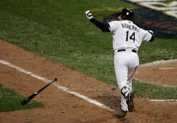 Konerko's first-pitch home run off Chad Qualls in Game 2 of the World Series is the stuff of legends.