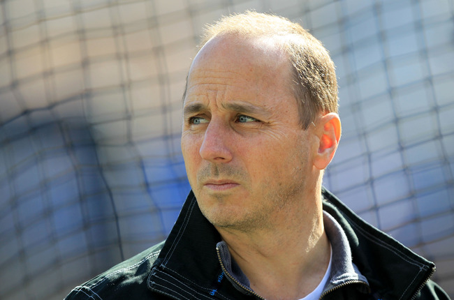 Oct 18, 2012; Detroit, MI, USA; New York Yankees general manager Brian Cashman before game four of the 2012 ALCS against the Detroit Tigers at Comerica Park.  Mandatory Credit: John Munson/THE STAR-LEDGER via US PRESSWIRE