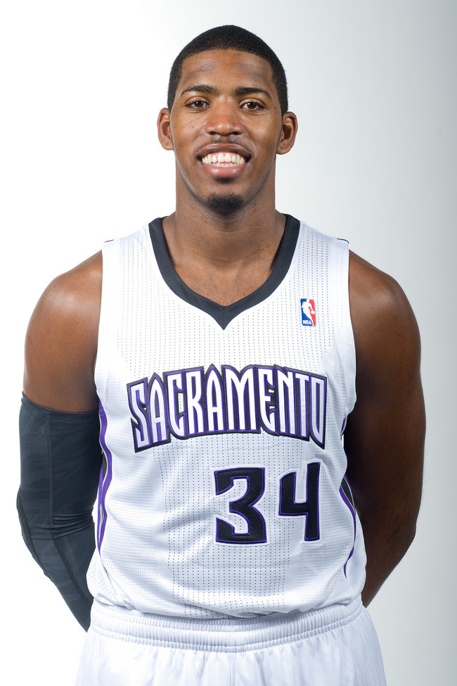October 1, 2012; Sacramento, CA, USA; Sacramento Kings center Jason Thompson (34) during media day at Kings Practice Facility.  Mandatory Credit: Ed Szczepanski-US PRESSWIRE