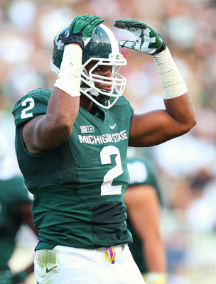 September 29, 2012; East Lansing, MI, USA; Michigan State Spartans defensive end William Gholston (2) reacts to the crowd during the second half of a game at Spartan Stadium against the Ohio State Buckeyes. Ohio State won 17-16       Mandatory Credit: Mik