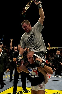 The first bout between GSP and Matt Hughes was basically the only time GSP looked human. Photo c/o knucklepit.com.