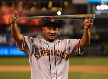 Melky Cabrera displays his 2011 All-Star MVP Award