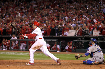 David Freese bats in Game 6 of the World Series