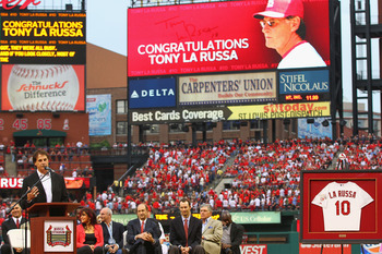 Tony La Russa speaks at his jersey retirement ceremony in St. Louis.