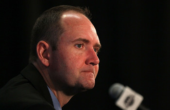 Peter DeBoer at a press conference after game two loss against Kings.