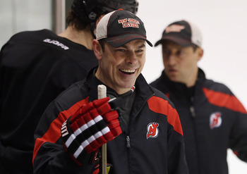 Adam Oates leaving the ice after Devils practice.