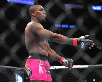 August 4, 2012; Los Angeles, CA, USA; Phil Davis fights Wagner Prado during the light heavyweight match at Staples Center. Mandatory Credit: Gary A. Vasquez-US PRESSWIRE
