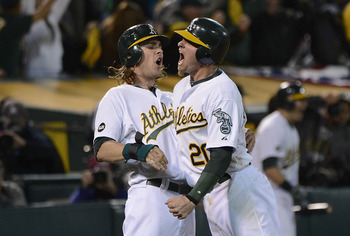 The fiery Donaldson (on right) was catalyst to A's late season run