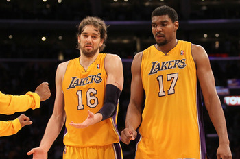 Andrew Bynum is learning to play alongside new teammates, while Pau Gasol remained in L.A.