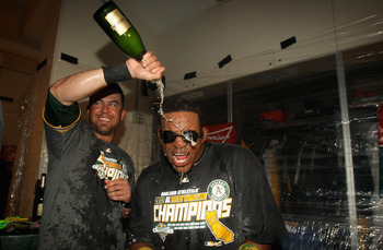 The A's celebrate winning the AL West.