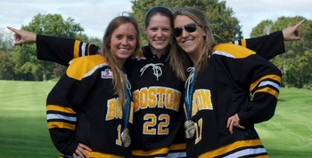 Left to right: Kelli Stack, Kacey Bellamy and Meghan Duggan at the Boston Blades golf tournament (Photo by Raphael Bieber)