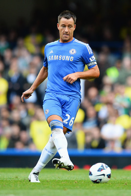 LONDON, ENGLAND - OCTOBER 06:  John Terry of Chelsea in action during the Barclays Premier League match between Chelsea and Norwich City at Stamford Bridge on October 6, 2012 in London, England.  (Photo by Mike Hewitt/Getty Images)