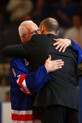 NEW YORK - FEBRUARY 03: Former New York Rangers player Ed Giacomin hugs Adam Graves during a ceremony retiring Graves' jersey prior to a game between the New York Rangers and the Atlanta Thrashers on February 03, 2008 at Madison Square Garden in New York