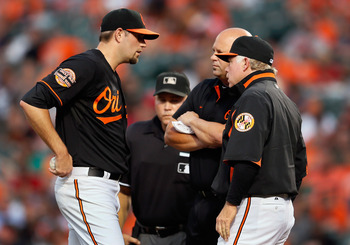 Showalter assessing the health of Hammel in a game against Detroit in July.