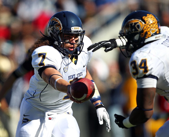 Oct 13, 2012; West Point, NY, USA; Kent State Golden Flashes quarterback David Fisher looks to hand off against the Army Black Knights during the first half at Michie Stadium. Mandatory Credit: Danny Wild-US PRESSWIRE
