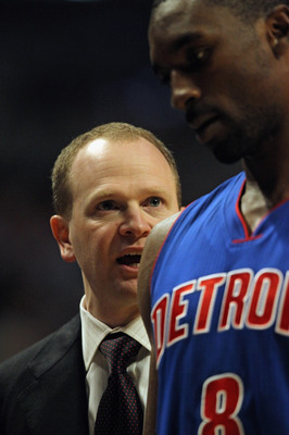 Pistons coach Lawrence Frank provides leadership and garners respect from his players, something the Pistons sorely needed from their coach.