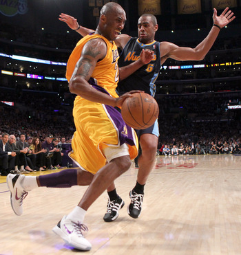 Arron Afflalo guards Kobe Bryant in last season's playoffs.