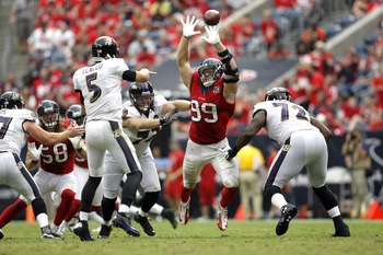 J.J. Watt deflects pass by Joe Flacco, leads to a pick six.