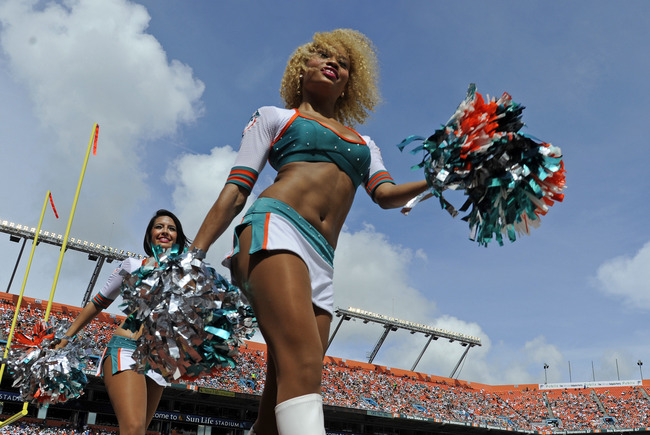 Sept. 16, 2012;  Miami, FL, USA; Miami Dolphins cheerleaders during the third quarter during a game against the Oakland Raiders at Sun Life Stadium. The Dolphins won 35-13. Mandatory Credit: Steve Mitchell-US PRESSWIRE