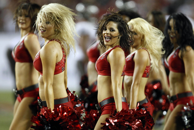 Sept. 30, 2012; Tampa FL, USA; Tampa Bay Buccaneers cheerleaders perform against the Washington Redskins during the second half at Raymond James Stadium. Washington defeated Tampa Bay 24-22. Mandatory Credit: Matt Stamey-US PRESSWIRE