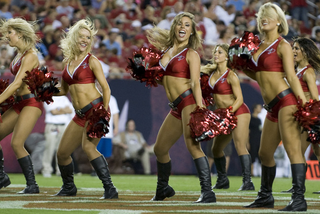 August 17, 2012; Tampa, FL, USA; Tampa Bay Buccaneers cheerleaders during a game against the Tennessee Titans at Raymond James Stadium.  Mandatory Credit: Jeff Griffith-US PRESSWIRE