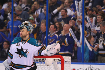 Sharks goaltender Antti Niemi taking a breather during Game 2 against the Blues in the 2012 Stanley Cup playoffs.