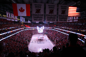 A packed Prudential Center during Game 1 of the Stanley Cup Finals.
