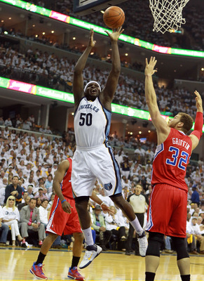 Blake Griffin defends Grizzlies' Zach Randolph in Game 5 of the 2012 NBA playoffs.