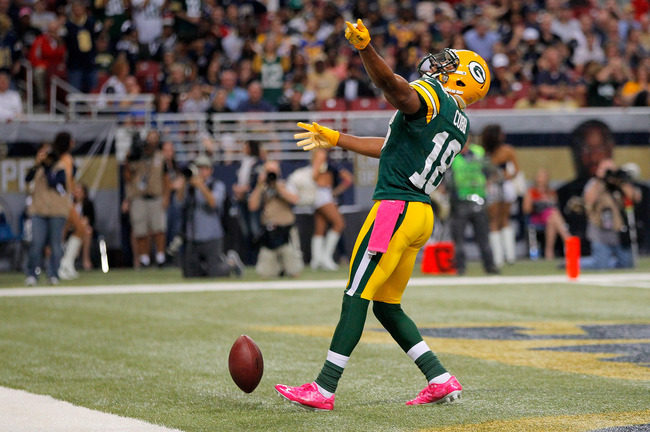 ST LOUIS, MO - OCTOBER 21:  Wide receiver Randall Cobb #18 of the Green Bay Packers celebrates his five yard touchdown reception against the St. Louis Rams in the third quarter at Edward Jones Dome on October 21, 2012 in St Louis, Missouri. The Packers de