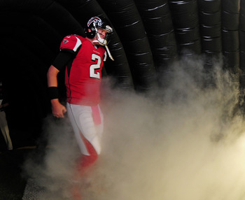 ATLANTA, GA - OCTOBER 14: Matt Ryan #2 of the Atlanta Falcons is introduced before the game against the Oakland Raiders at the Georgia Dome on October 14, 2012 in Atlanta, Georgia  (Photo by Scott Cunningham/Getty Images)