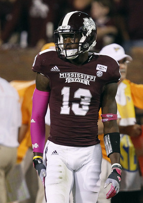STARKVILLE, MS - OCTOBER 13:  Defensive back Johnthan Banks #13 of the Mississippi State Bulldogs looks to the sidelines for a play during their game against the Tennessee Volunteers on October 13, 2012 at Davis Wade Stadium in Starkville, Mississippi. (P