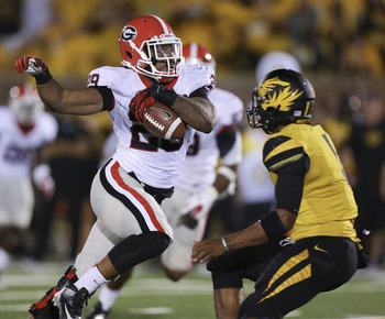 Jarvis Jones's 21-yard interception return against Missouri.