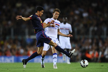 Bartra in action against Sampdoria earlier this season.