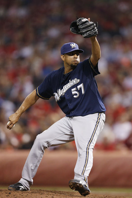 Francisco Rodriguez pitches for the Brewers in a September game against the Reds