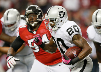 The Oakland Raiders ran for 149 yards against the Falcons in Week 6