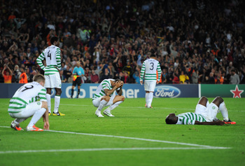 Celtic's stars collapse from exhaustion after conceding a late winner.