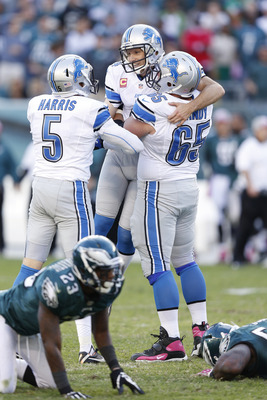 PHILADELPHIA, PA - OCTOBER 14: Jason Hanson #4 of the Detroit Lions celebrates after kicking a 45-yard field goal in overtime against the Philadelphia Eagles at Lincoln Financial Field on October 14, 2012 in Philadelphia, Pennsylvania. The Lions won 26-23