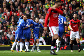 Chelsea celebrate Joe Cole's opening goal in their 2-1 victory over Manchester United
